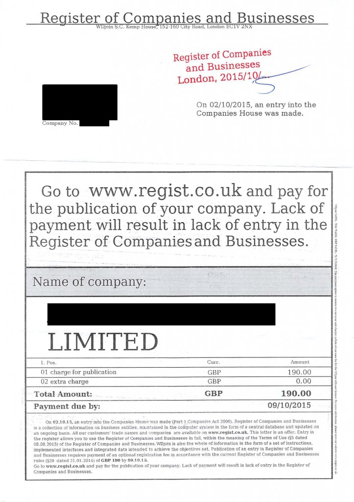 Companies House scam letter